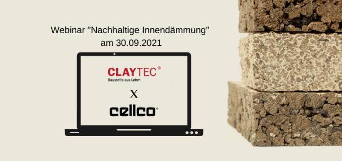 """Cellco im Webinar """"Nachhaltige Innendämmung mit Lehmbaustoffen"""" von CLAYTEC"""